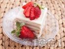 Рецепта Вкусна бисквитена торта с кафе, сирене крема и кондензирано мляко
